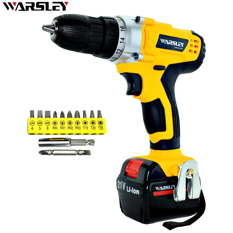 21V Battery Screwdriver Electric Mini Cordless Two-speed Charged Drill Power Tools Impact Li-ion  Screwdriver Drille<br>