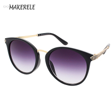 cat eye designer ladies sunglasses sale name brand Metal Frame Mirror Glasses Vintage Designer from makerele china company