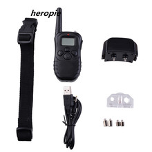Heropie Remote Rechargeable And Waterpfoof Electric Shock Anti-bark 300 Meters Pet Dog Training Collar With LCD Display New(China)
