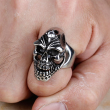 High Quality Stainless Steel Silver Men's Gothic Skull Head Finger Rings With Zircon Fashion Jewelry Cheap Price 2016 (A086)
