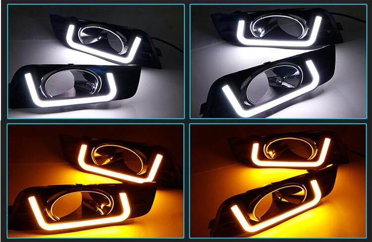 Osmrk led drl daytime running light for Chevy Chevrolet Cruze 2009-2013, with yellow turn signal, wireless switch<br><br>Aliexpress