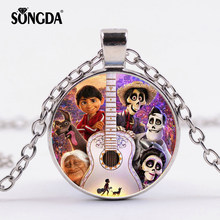 SONGDA Pixar Movie COCO Necklace Miguel Hotchpotch Art Photo 3D Effect Glass Cabochon Pendant Long Necklace Birthday Party Gifts(China)