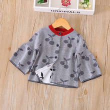 Everweekend Sweet Baby Girls Print Fruit Cherry Cute Cardigans Clothes Fashion Western Crochet Outwears Baby Open Stitch(China)