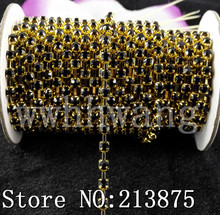 Free shipping SS16(4mm) 10Yards Black AAA crystal rhinestone close Gold chain trims Wedding dresses Garment accessories