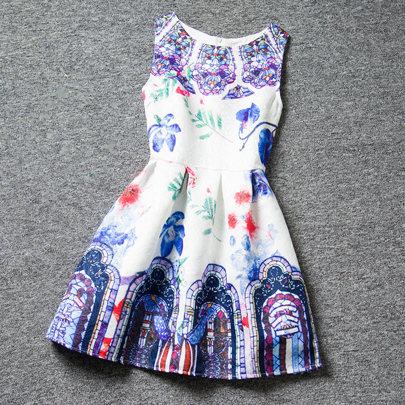 20 Color Cotton Girl Dress Retro Baby Girls Casual Dresses Sleeveless Print Floral Spring Summer Girls Clothes Hot 2016<br><br>Aliexpress