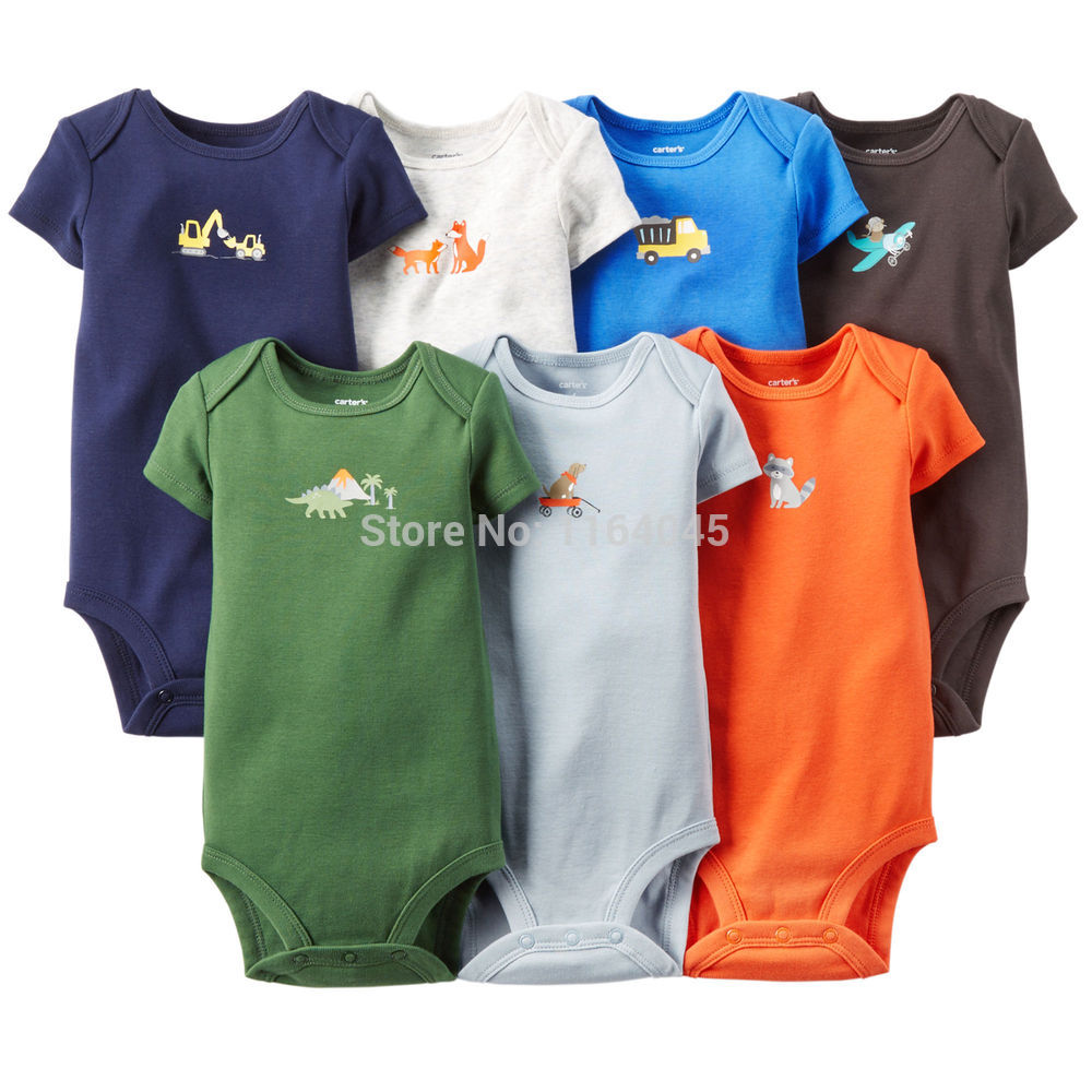 S7-001, Original, New Arrived, Baby Boys 7-Pack Short-Sleeve Bodysuits Set, Soft Feeling, Free Shipping<br><br>Aliexpress