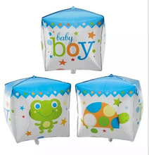 Baby Boy Baby Girl Cube Shape Foil Balloon for Baby Shower Celebrate,Inflatable Print Mylar balloon