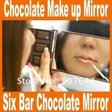 Lovely Six Bar Mini Fashion Chocolate Mirror Girls/Ladies Cosmetic Mirror Make up Mirror pocket mirror 5pcs/lot Free Shipping