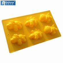 6 Cavity Dinosaur Soap Mold for Kids Silicone Cake Baking Molds Ice Cube tray Muffin Cups Resin Jelly Chocolate DIY Mold Moulds