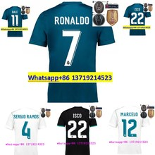 size S-XL Free patches 2017 Realed Madrided Thai AAA best Quality adult Shirts 17 18 Home White Away Purple 3RD HOT K(China)