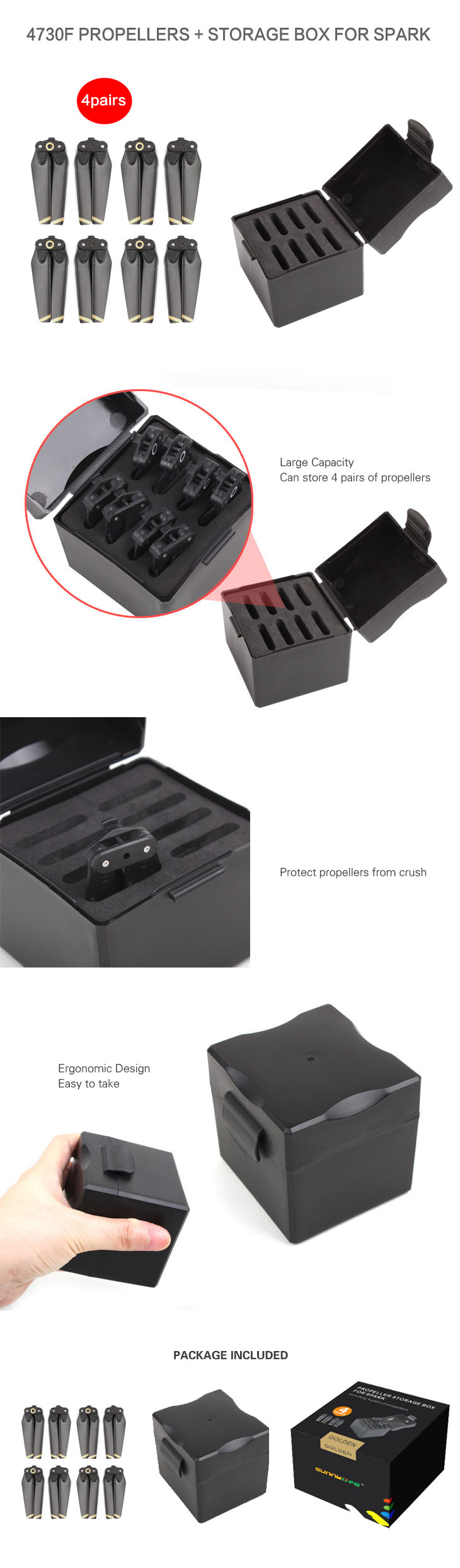 4 Pairs SPARK 4730F Propellers Quick-release Foldable Props Including Propeller Storage Box for SPARK Drone