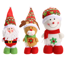 2018 Children Christmas Ornament Gift Xmas Christmas Santa Claus Snowman Reindeer Doll Christmas Tree Ornaments Chirstmas dolls(China)