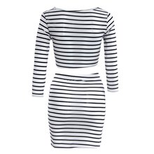 Buy Women Sexy Celeb Bodycon Striped 2pcs Bandage Crop Chiffon White Black Stripes Top Blouse + Mini Skirt 1 Suit for $5.64 in AliExpress store
