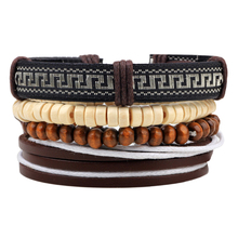 4pcs 1 Set Hot sale Leather Bracelet Male Wooden beads Cuff Braided Wrap Bracelets & Bangles Women Men Jewerly