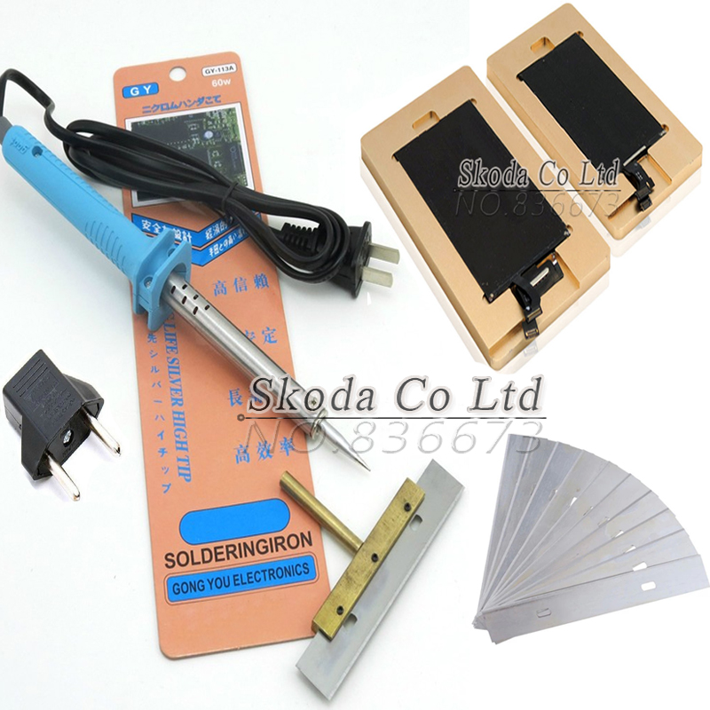 2pcs cellphone LCD remove adhesive UV glue mould+60W Remove UV glue soldering iron+10 pcs 10cm Blade for removed LCD screen glue<br>
