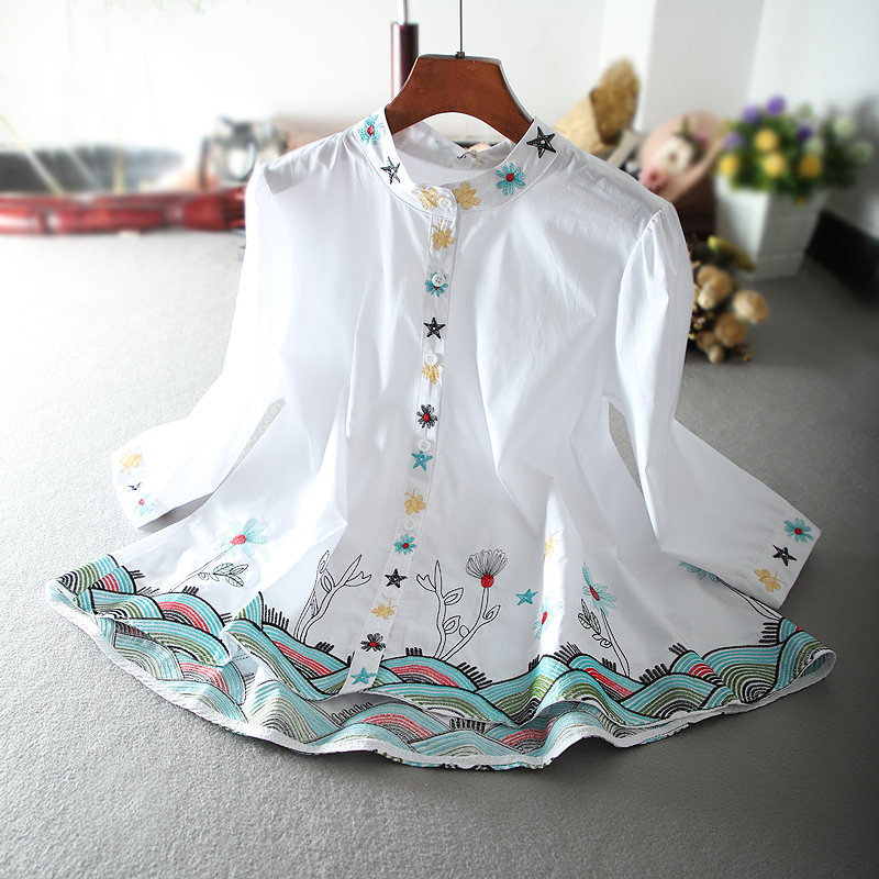 Spring Summer high quality women's Luxury feminino vintage floral heavy embroidery casual blouses bohemian blousa tops NS196