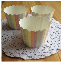 25pcs Polka Dot Stripes Cupcake Case, Muffin Paper Cupcake Cups Tin Liners, Cheap Cupcakes Holder Supplies