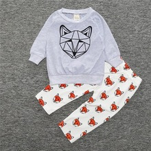 Cool Wolf Baby Boys Outfits Sets Autumn Casual Outerwear Tee Tops Pants 2pcs Clothes Suits For Toddler Kids Long Sleeve Clothing(China)