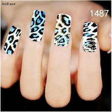AddFavor 4PC Nail Art Stickers Blue Black Leopard Grain Gel Fingernail Beauty Designs Nail Decals Manicure Foil Tool Makeup