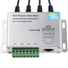 4CH HD CVI/TVI/AHD Passive Video Balun BNC Male RJ45 UTP CCTV Via Twisted Pairs