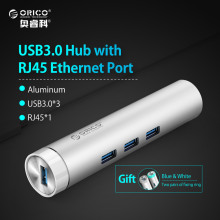 ORICO ARH3L-U3 Aluminum Round USB3.0 HUB RJ45 Port USB A to Type-C for Apple Laptop Macbook Surface Pad Perfectly - Silver