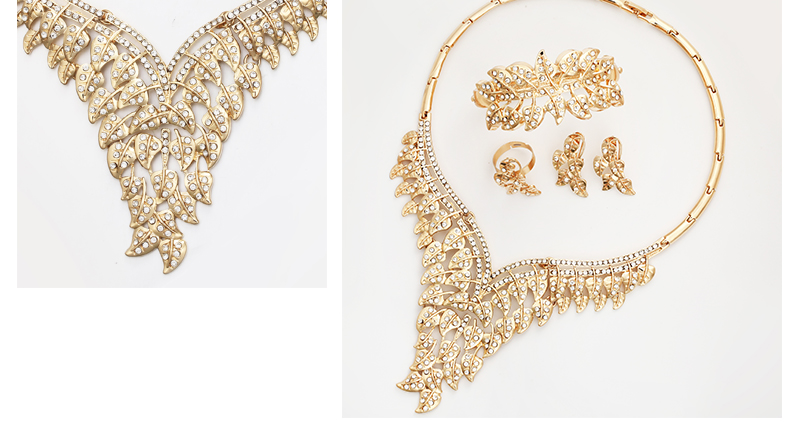 CWEEL Jewelry Sets Luxury Women African Jewelry Set Plant Imitation Crystal Wedding Jewellery For Bride Dubai Jewelry Sets (5)