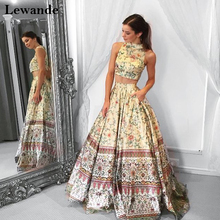 2 Pieces Floral Print Long Prom Dress 2017 Satin Pattern Pageant Evening Gown Lewande 50783 A Line Party Skirt Pockets