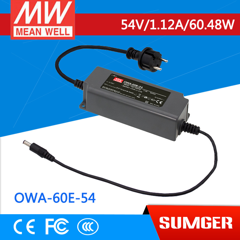 1MEAN WELL original OWA-60E-54 54V 1.12A meanwell OWA-60E 54V 60.48W Single Output Moistureproof Adaptor Euro Type<br>