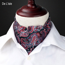 Men's Fashion Vingtage Style Woven Double-faced Elegant Paisley Pattern Embroidery Cravat Silk Scarf - Factory Outlet(China)