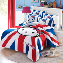 2017 new hello kitty bed linen double quilt bed linen, quilt cover, pillowcase, 4 pcs, bed linen,Home Textiles,Bedding kit