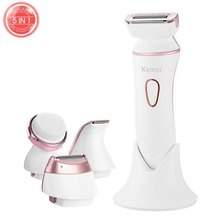 5in1 wet dry women shaver electric female shaving machine lady trimmer hair removal face epilator for bikini,body,underarm(China)