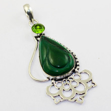 Green Carved & Peridots Pendant Silver Overlay over Copper ,78mm, P1304(China)