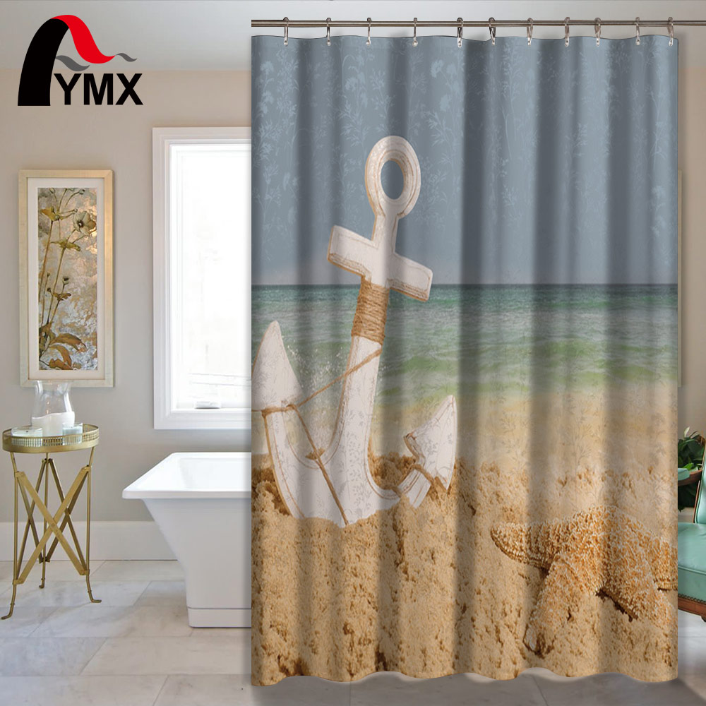 anchor printing polyester waterproof shower curtain bathroom curtain hotel bathroom shower product home textile bath accessories