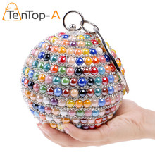 TenTop-A Double Side Diamond Colorful Pearls Beaded Elegant Lady Evening Bag Purse Circular Dinner Bags Crystal Day Clutch Bolsa