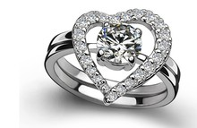 Heart Ring 0.5Ct G H VVS1 Certified Round Moissanite Diamond Rings Set Female Solid 14K White Gold Jewelry for Women(China)