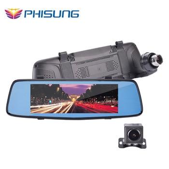 Phisung M7 car dvr with 7in IPS Super Night Vision rearview mirror camera Dual lens LDWS ADAS WDR Parking dashcam 1080p car cam
