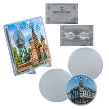 WR Russian Famous Building Commemorative Coin Singer House Silver Challenge Metal Coin with Nice Stand for Collectible Ornament
