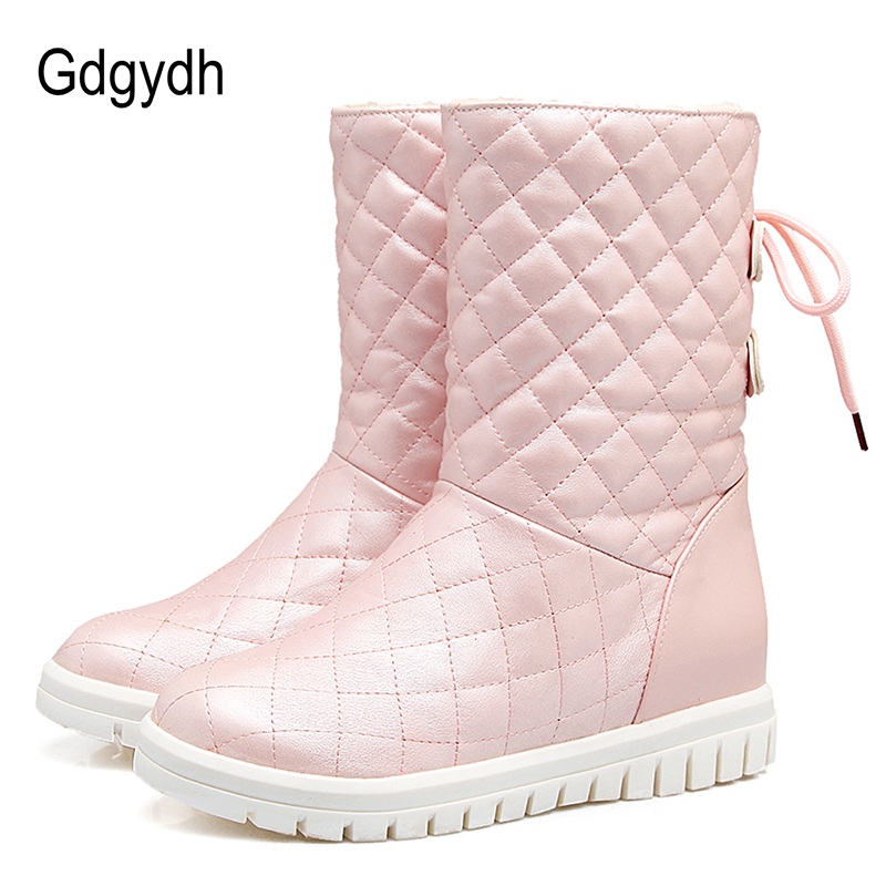 Gdgydh Comfortable Women Snow Boots Plush Inside Winter Warm Shoes Woman 2017 New White Outerwear Shoes Female Plus Size 43<br>