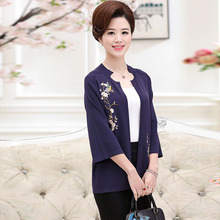 Middle - aged women 's knitted jacket embroidered mother loaded short paragraph cardigan PFGS-1706
