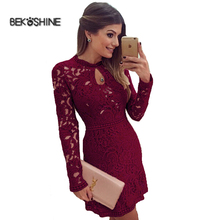 Buy Bekoshine 2017 Newest Vestidos Women Autumn Dress Long Sleeve O-neck Lace Dress Sexy Casual Mini Party Dresses Vestido de festa for $10.99 in AliExpress store