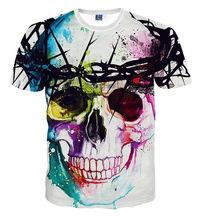 Colorful skull print 3D t shirt big boys and girls unisex Clothes kids summer casual t-shirts Children's tees tops(China)