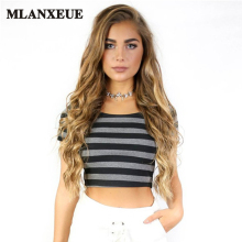 Buy New Stripe Black T-Shirt Sexy Exposed Navel Short Shirt Women Tops Short sleeves Halter Top Tees Girl T Shirt Crop Top Female