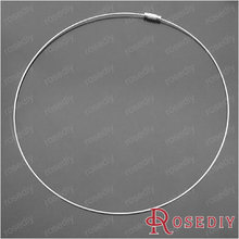 (18474)Free Shipping Wholesale Manual Making Findings Diameter:13CM Imitation Rhodium Copper Steel wire necklace ring 10PCS