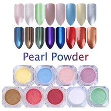 BORN PRETTY Shining Mirror Pearl Powder Nail Glitter Shimmer Mermaid Pigment Dust UV Gel Paillette Flakes Nail Art Decoration