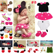 Retail New Born Crochet Beanies Clothes Ladybug Designs Crochet Baby Hats Photo Props Infant Costume Outfits 1set MZS-14001-J