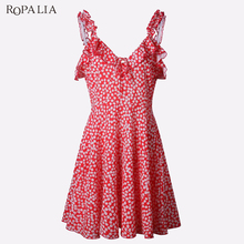 Buy ROPALIA Brand Summer Dress Women Sexy Deep V-neck Halter Dress Sleeveless Print Vintage Bodycon Party Short Mini Dresses Vestido