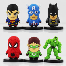 SuperHero The Avengers Figure with base Spider man Super Man Iron Man Batman Captain America Green Lantern Mini PVC Figure Toys