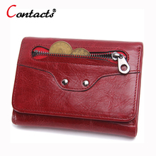 CONTACT'S Luxury Brand Genuine Leather Women Wallet Female Coin Purse Small Credit Card Holder Lady Clutch Perse Red Short walet
