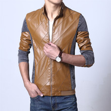 Nk Sale Real Conventional Zipper Polo 2017 Leather Jacket, Autumn Winter Jacket Men, Men exercise Tactical Slim Patchwork Coat,