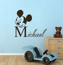 N009 Personalized Name Wall Decal Mickey Mouse Nursery Kids Room Decor free shipping